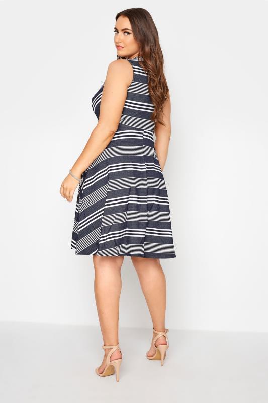 Navy Stripe Wrap Skater Dress_C.jpg