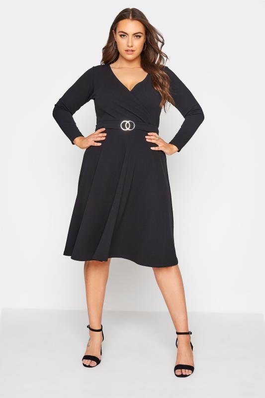 Plus Size  YOURS LONDON Black Wrap Midi Dress