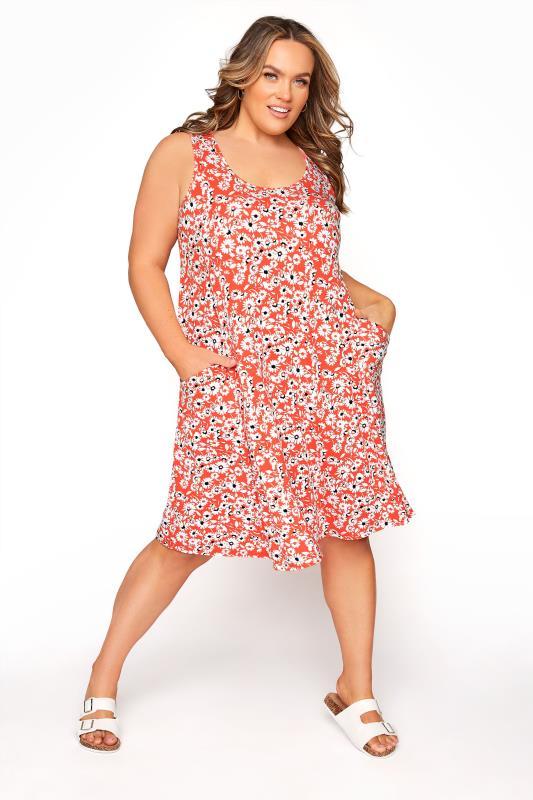 Coral Floral Sleeveless Drape Pocket Dress_B.jpg