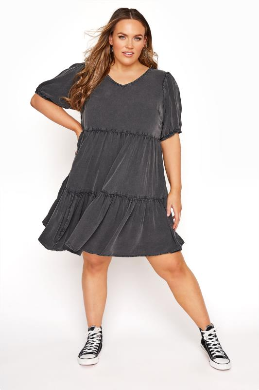 Plus Size  Black Acid Wash Tiered Dress
