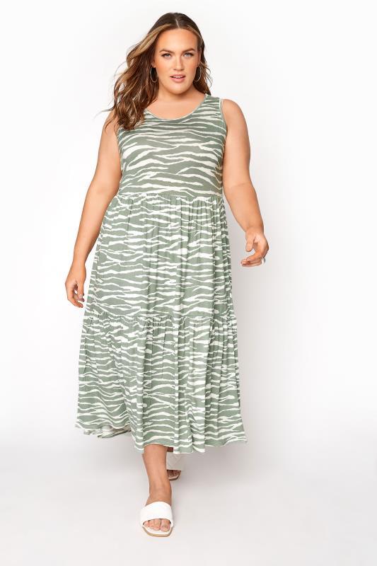 Tallas Grandes Sage Green Zebra Print Sleeveless Midaxi Dress