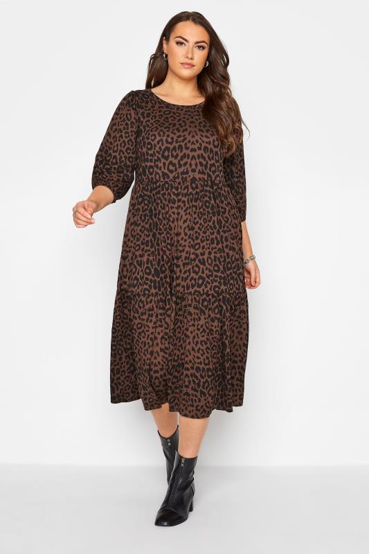 Plus Size  Brown Animal Print Midaxi Dress