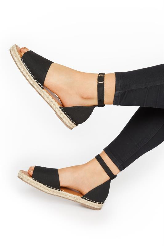 Tall  LTS Black Open Toe Espadrille