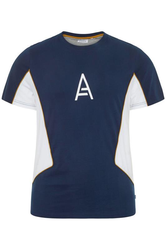 Großen Größen  STUDIO A Navy Panelled T-Shirt