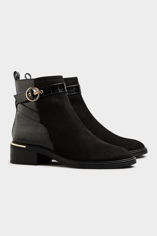 Tall  LTS Black Buckle Strap Ankle Boots