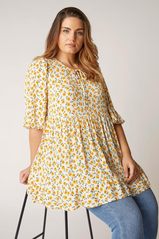 Plus Size  THE LIMITED EDIT White Floral Frill Hem Tunic
