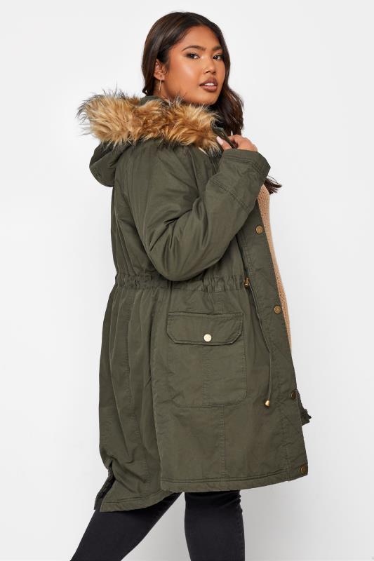 Khaki Faux Fur Trim Hooded Parka_86.jpg