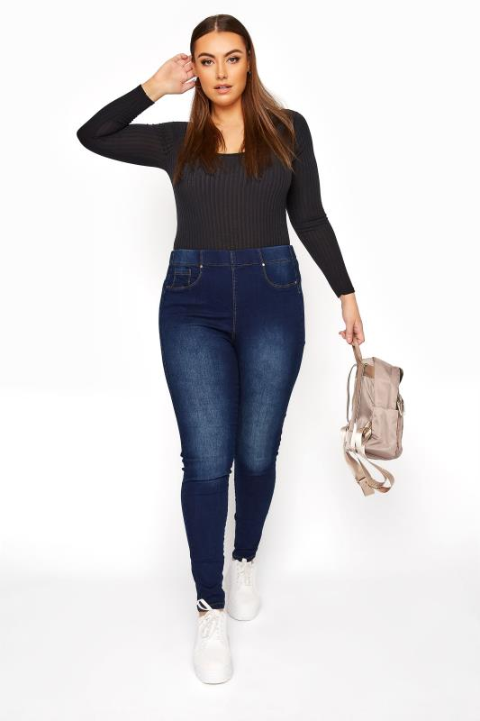 Großen Größen Shaper Jeans Indigo Blue Pull On Bum Shaper LOLA Jeggings