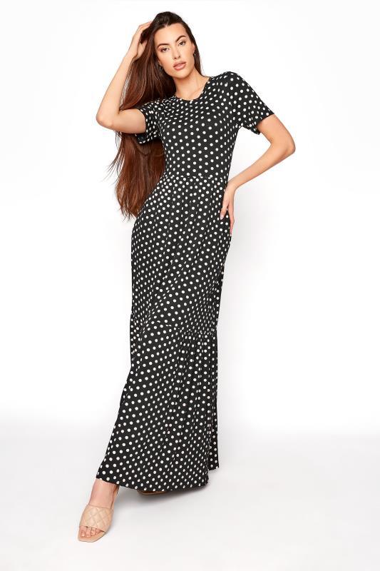 Tall  LTS Black Spot Tiered Maxi Dress