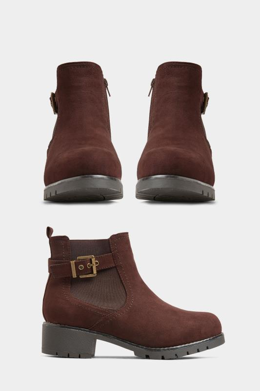 Yours Brown Vegan Faux Suede Chelsea Buckle Ankle Boots In Extra Wide Fit