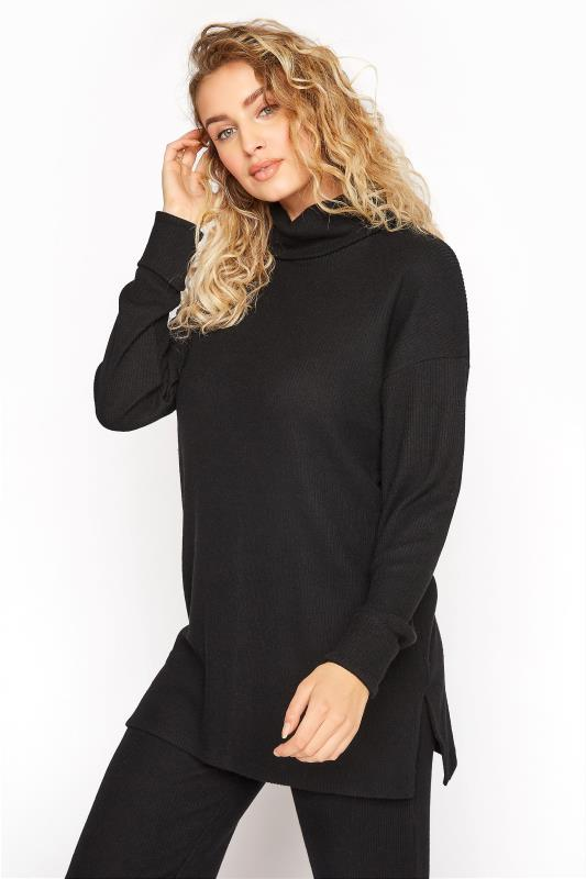 Tall  LTS Black Longline Co-ord Lounge Top