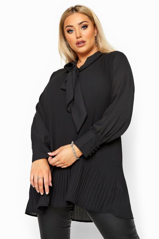 Tunics dla puszystych YOURS LONDON Black Pleated Bow Tunic