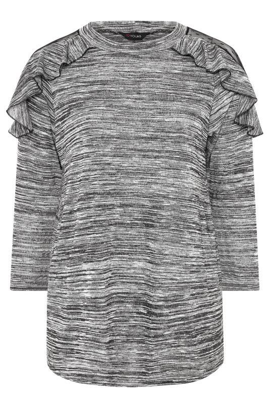 Grey Marl Dobby Mesh Insert Frill Knitted Top