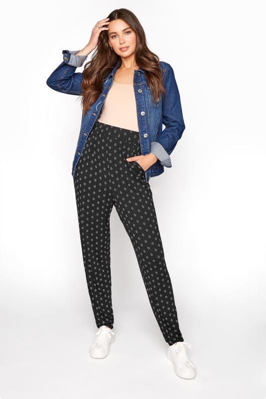 LTS Black Geometric Double Pleat Jersey Harem Trousers_A.jpg