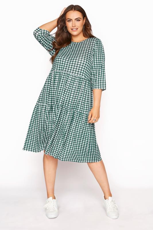 LIMITED COLLECTION Green Gingham Smock Midi Dress_A.jpg