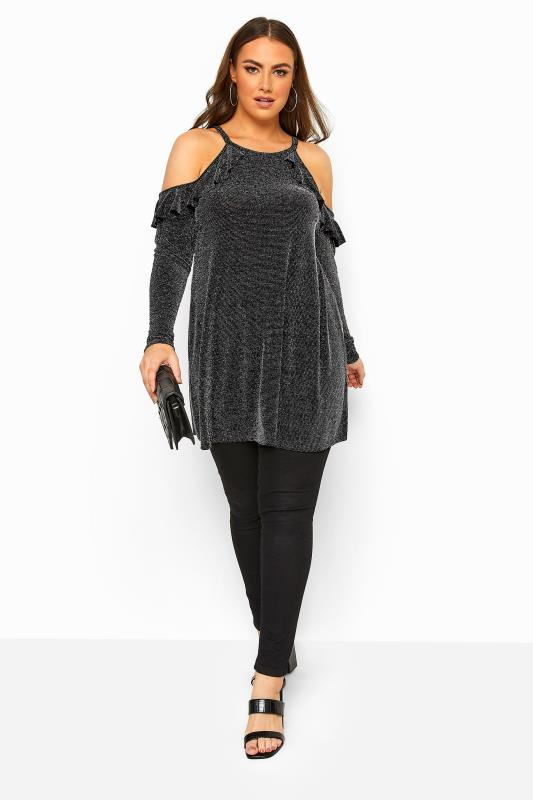 LIMITED COLLECTION Black Metallic Cold Shoulder Frill Scuba Top