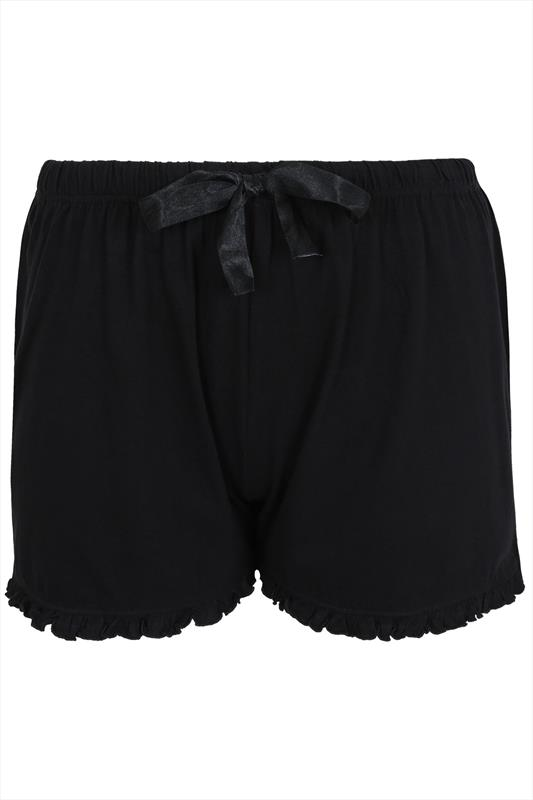 Black Cotton Pyjama Shorts With Frill Trim