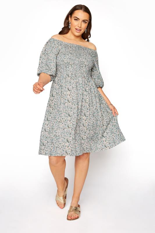 Plus Size  Sage Green Floral Balloon Sleeve Dress