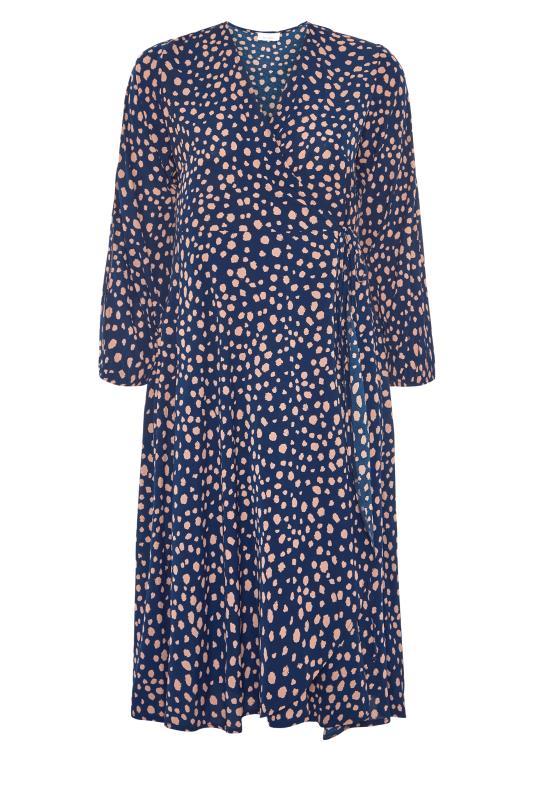 YOURS LONDON Navy Dalmatian Print Wrap Dress_F.jpg