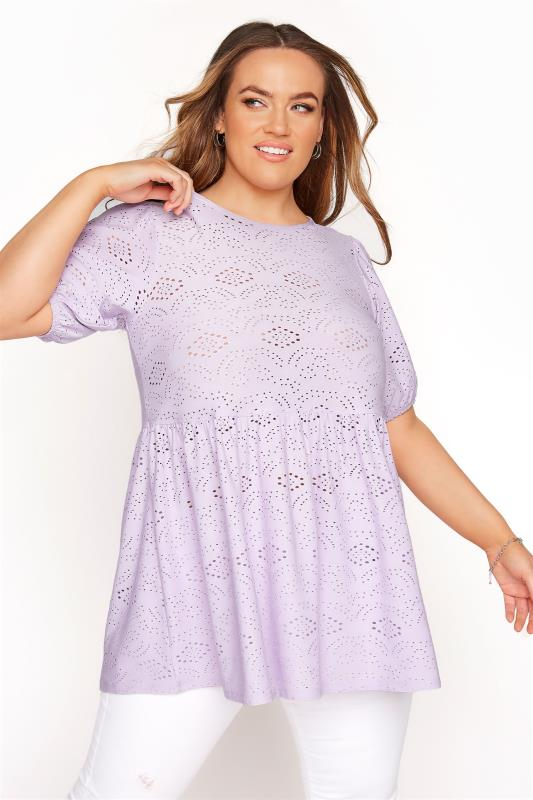 Plus Size  Lilac Broderie Anglaise Peplum Top