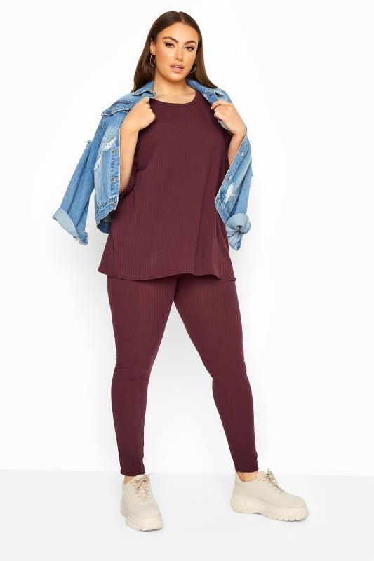 Burgundy Ribbed Drop Shoulder Co-ord Top