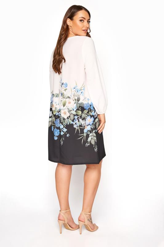 YOURS LONDON White Floral Border Shift Dress_C.jpg