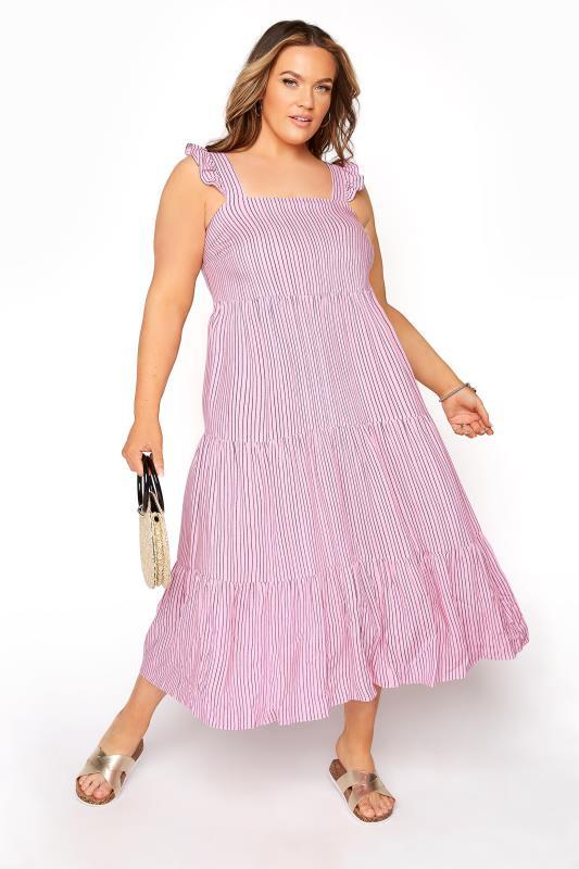 YOURS LONDON Pink Stripe Frill Tiered Midi Dress_B.jpg
