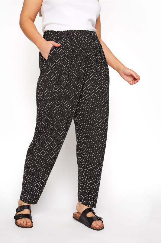 Plus Size  Black Diamond Print Harem Trousers