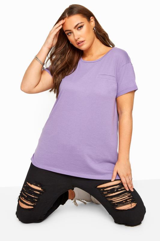 Plus Size T-Shirts Purple Mock Pocket T-Shirt