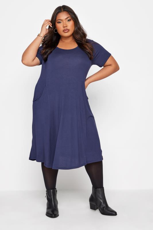Plus Size  Navy Drape Pocket Midi Dress
