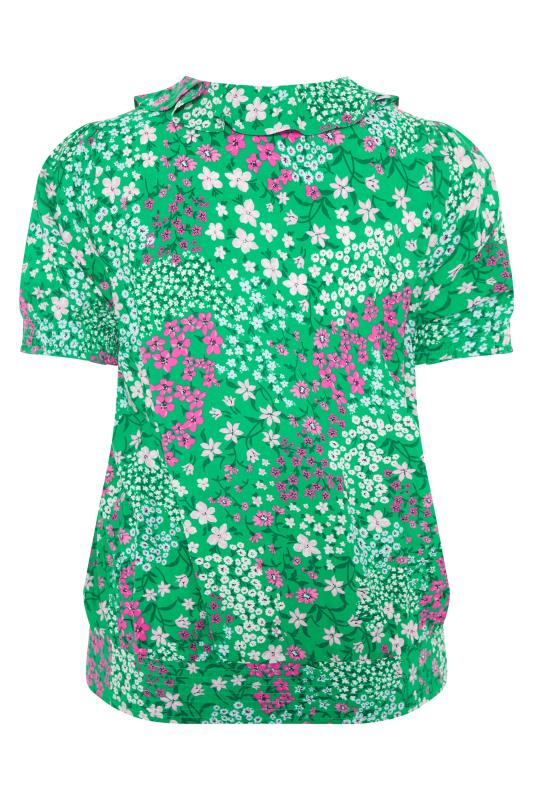 YOURS LONDON Green Floral Shirred Frill Top_BK.jpg