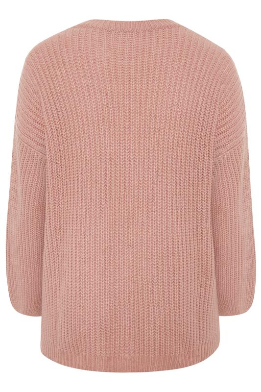 Pink Wide Balloon Sleeve Chunky Knitted Jumper
