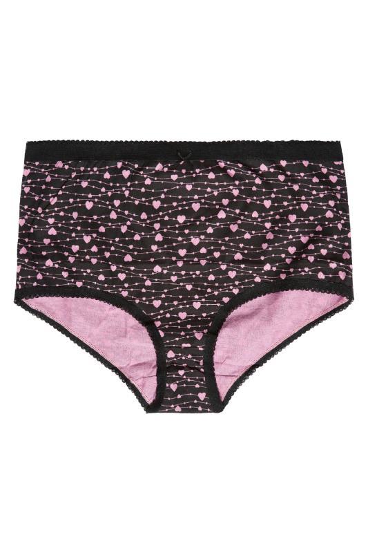 5 PACK Pink & Black Heart Print Full Briefs_B.jpg