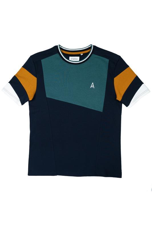 STUDIO A Navy Panel Colour Block T-Shirt