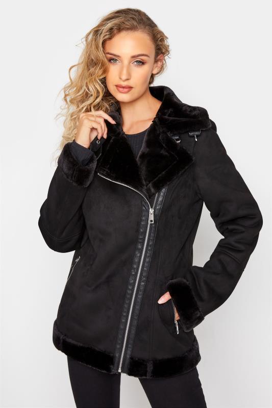 LTS Black Faux Fur Trim Aviator Jacket_A.jpg