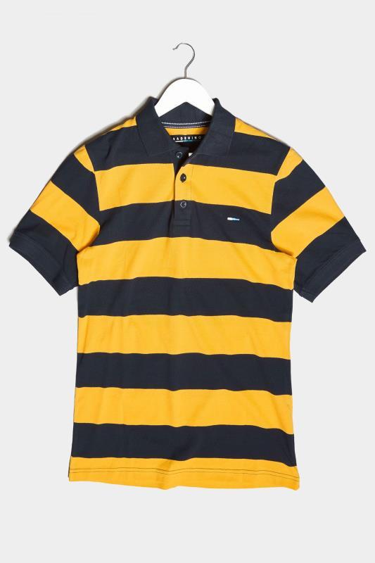 Men's  BadRhino Navy & Yellow Striped Polo Shirt