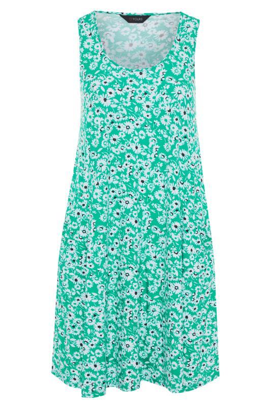 Plus Size  Green Floral Sleeveless Drape Pocket Dress