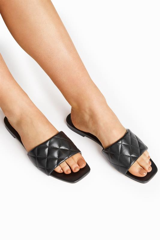 LTS Black Quilted Square Flat Mules