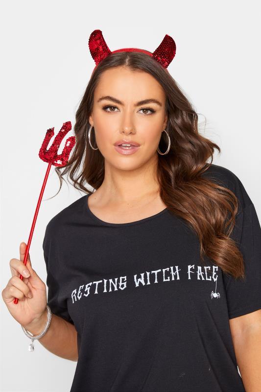 dla puszystych Red Sequin Devil Halloween Headband Set