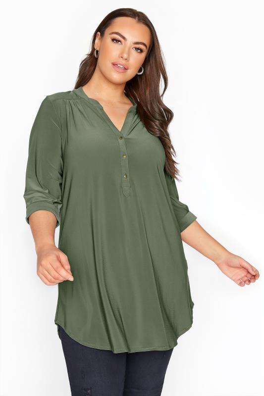 Plus Size  Khaki Slinky Jersey Shirt