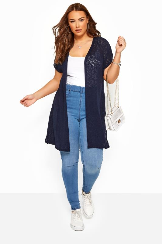 Navy Short Sleeve Cardigan