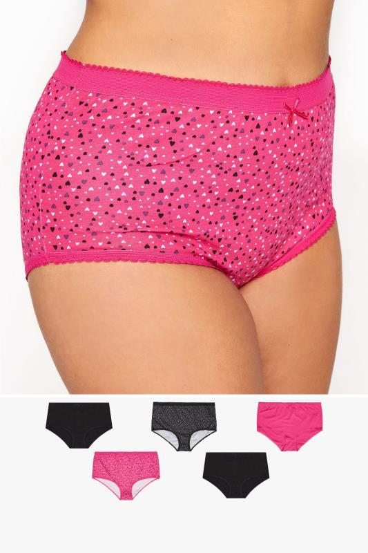 5 PACK Pink Multi Heart Print Full Briefs_M.jpg