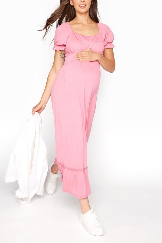 LTS Maternity Dusky Pink Milkmaid Dress_B.jpg