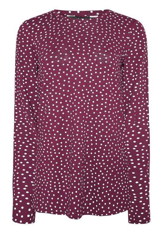 LTS Burgundy Polka Dot Print Long Sleeve T-Shirt_F.jpg
