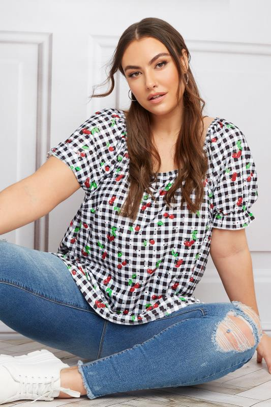 LIMITED COLLECTION Black Gingham Cherry Broderie Anglaise Milkmaid Top