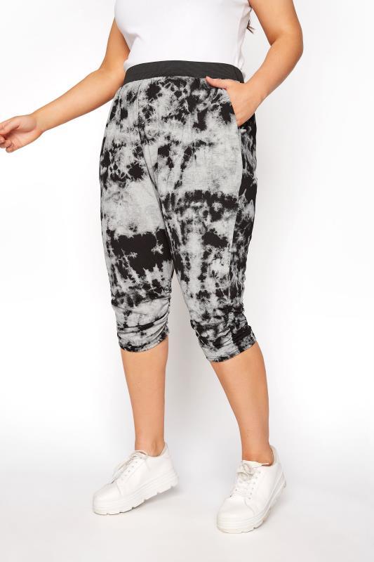 Graue 3/4 lange Haremshose mit Batik Print
