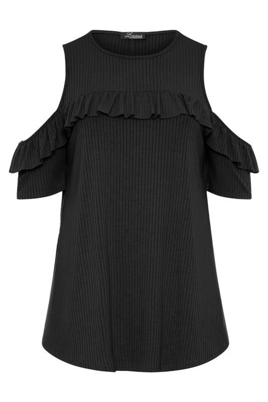 LIMITED COLLECTION Black Cold Shoulder Ribbed Swing Top_F.jpg