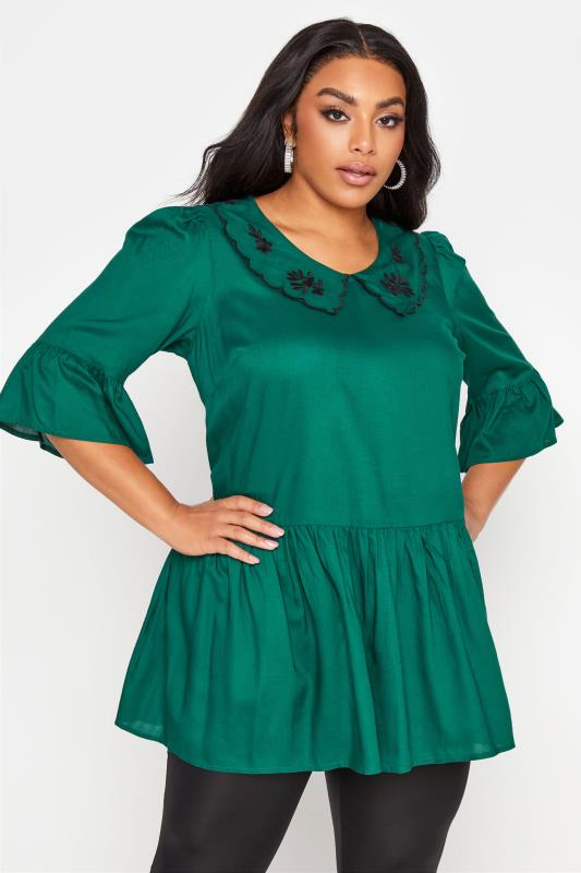 Plus Size  LIMITED COLLECTION Forest Green Embroidered Collar Peplum Blouse