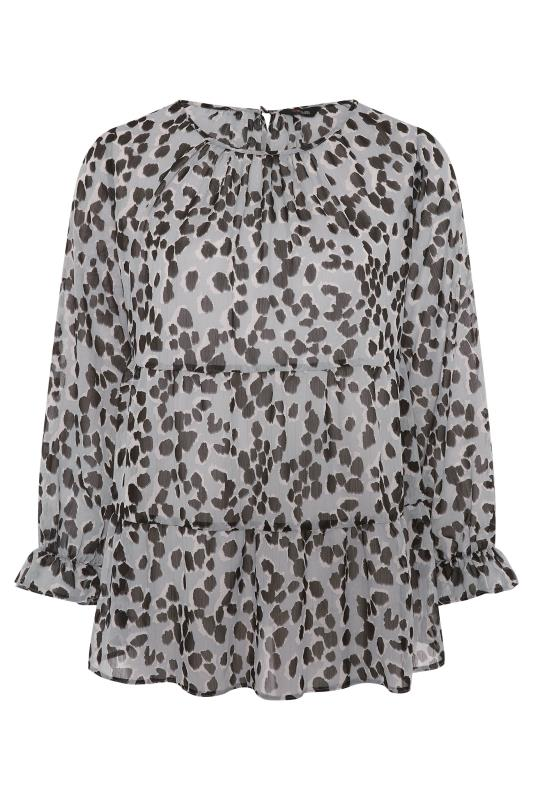 THE LIMITED EDIT Grey Leopard Frill Smock Blouse_F.jpg