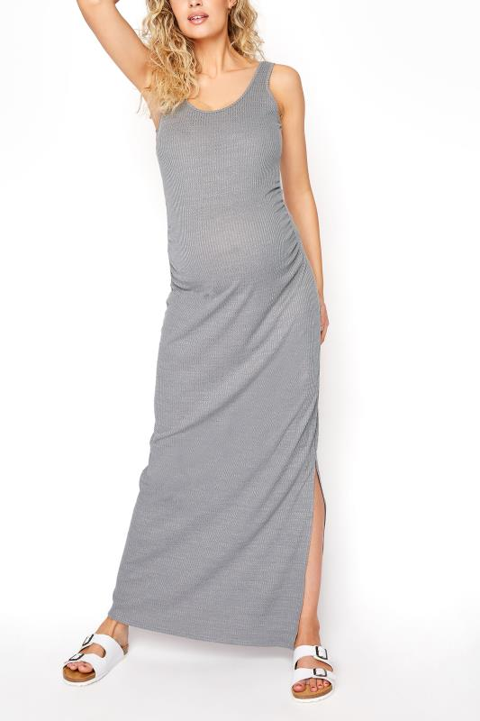 Tall  LTS Maternity Grey Ribbed Tube Maxi Dress
